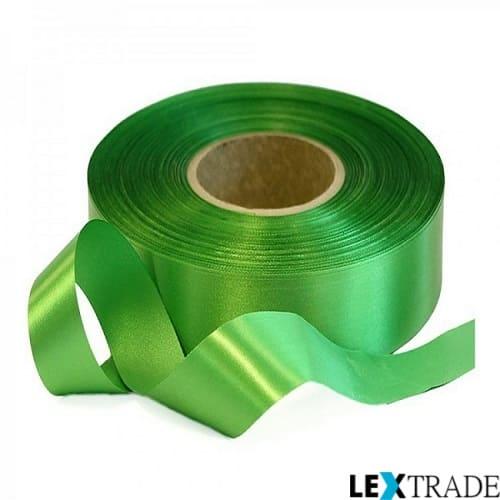 Сатиновая текстильная лента салатового цвета в рулоне